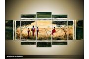 Acryl Schilderij Afrika | Groen, Geel | 150x70cm 5Luik Handgeschilderd