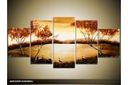 Acryl Schilderij Natuur | Geel, Bruin | 150x70cm 5Luik Handgeschilderd