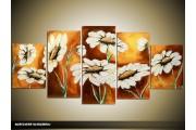 Acryl Schilderij Zonebloem | Wit, Bruin | 150x70cm 5Luik Handgeschilderd
