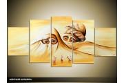 Acryl Schilderij Afrika | Geel, Bruin | 150x70cm 5Luik Handgeschilderd
