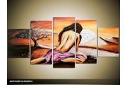 Acryl Schilderij Modern | Paars, Bruin, Crème | 150x70cm 5Luik Handgeschilderd