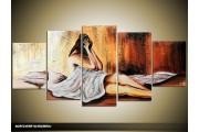 Acryl Schilderij Slaapkamer | Bruin, Crème | 150x70cm 5Luik Handgeschilderd