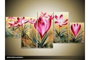 Acryl Schilderij Krokus | Roze, Crème | 150x70cm 5Luik Handgeschilderd