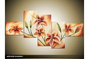 Acryl Schilderij Woonkamer | Bruin, Crème | 170x70cm 5Luik Handgeschilderd