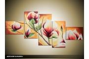 Acryl Schilderij Magnolia | Bruin, Crème | 170x70cm 5Luik Handgeschilderd