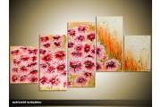 Acryl Schilderij Modern | Roze, Oranje, Crème | 150x70cm 5Luik Handgeschilderd