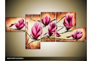 Acryl Schilderij Magnolia | Bruin, Crème, Roze | 160x70cm 5Luik Handgeschilderd