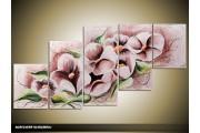 Acryl Schilderij Modern | Grijs, Groen | 150x70cm 5Luik Handgeschilderd