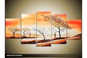 Acryl Schilderij Zonsondergang | Geel, Oranje, Bruin | 150x70cm 5Luik Handgeschilderd