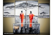 Acryl Schilderij Modern | Grijs, Rood, Zwart | 120x90cm 5Luik Handgeschilderd