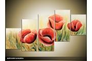 Acryl Schilderij Klaproos | Rood, Crème, Groen | 150x70cm 5Luik Handgeschilderd