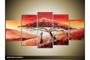 Acryl Schilderij Natuur | Bruin, Crème, Rood | 150x70cm 5Luik Handgeschilderd