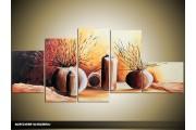 Acryl Schilderij Woonkamer | Bruin, Crème | 160x70cm 5Luik Handgeschilderd