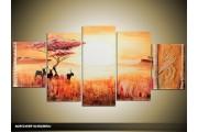 Acryl Schilderij Natuur | Oranje, Geel | 150x70cm 5Luik Handgeschilderd