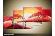 Acryl Schilderij Zonsondergang | Rood, Crème | 150x70cm 5Luik Handgeschilderd