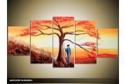 Acryl Schilderij Zonsondergang | Oranje, Bruin, Geel | 150x70cm 5Luik Handgeschilderd