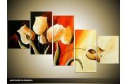 Acryl Schilderij Tulpen | Rood, Bruin, Geel | 150x70cm 5Luik Handgeschilderd