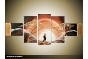 Acryl Schilderij Zonsondergang | Bruin, Crème | 170x70cm 5Luik Handgeschilderd
