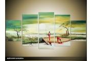 Acryl Schilderij Zonsondergang | Groen, Crème | 150x70cm 5Luik Handgeschilderd