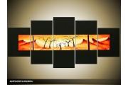 Acryl Schilderij Natuur | Zwart, Geel, Oranje | 150x70cm 5Luik Handgeschilderd