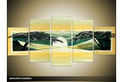 Acryl Schilderij Natuur | Geel, Groen | 150x70cm 5Luik Handgeschilderd