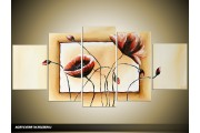 Acryl Schilderij Klaproos | Crème, Bruin | 150x70cm 5Luik Handgeschilderd