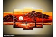 Acryl Schilderij Natuur | Rood, Oranje | 150x70cm 5Luik Handgeschilderd