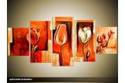 Acryl Schilderij Tulp | Rood, Oranje | 150x70cm 5Luik Handgeschilderd