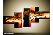 Acryl Schilderij Natuur | Zwart, Oranje | 150x70cm 5Luik Handgeschilderd