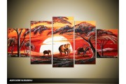 Acryl Schilderij Afrika | Rood, Geel | 150x70cm 5Luik Handgeschilderd