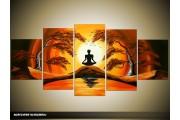 Acryl Schilderij Yoga | Geel, Bruin, Oranje | 150x70cm 5Luik Handgeschilderd
