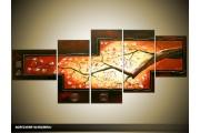 Acryl Schilderij Natuur | Oranje, Geel | 160x70cm 5Luik Handgeschilderd