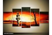 Acryl Schilderij Natuur | Oranje, Zwart, Geel | 150x70cm 5Luik Handgeschilderd