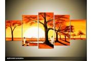 Acryl Schilderij Natuur | Bruin, Crème, Oranje | 150x70cm 5Luik Handgeschilderd