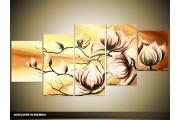 Acryl Schilderij Magnolia | Geel, Crème | 150x70cm 5Luik Handgeschilderd