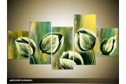 Acryl Schilderij Tulp | Groen | 150x70cm 5Luik Handgeschilderd