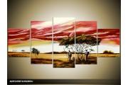 Acryl Schilderij Natuur   Rood, Geel   150x70cm 5Luik Handgeschilderd