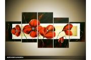 Acryl Schilderij Klaproos | Rood, Zwart, Crème | 150x70cm 5Luik Handgeschilderd