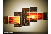Acryl Schilderij Zonsondergang | Oranje, Bruin | 170x70cm 5Luik Handgeschilderd