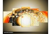 Acryl Schilderij Woonkamer | Geel, Bruin, Oranje | 150x70cm 5Luik Handgeschilderd