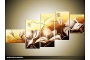 Acryl Schilderij Magnolia | Bruin, Crème | 160x70cm 5Luik Handgeschilderd