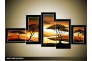 Acryl Schilderij Natuur | Oranje, Geel, Zwart | 160x70cm 5Luik Handgeschilderd