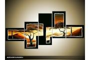 Acryl Schilderij Natuur | Bruin, Geel, Zwart | 160x70cm 5Luik Handgeschilderd