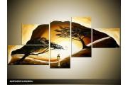 Acryl Schilderij Natuur | Bruin, Geel | 160x70cm 5Luik Handgeschilderd