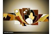 Acryl Schilderij Modern | Bruin, Geel | 170x70cm 5Luik Handgeschilderd