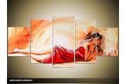 Acryl Schilderij Sexy | Rood, Crème | 150x70cm 5Luik Handgeschilderd
