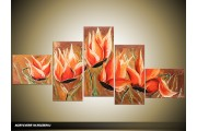 Acryl Schilderij Magnolia | Rood, Bruin | 170x70cm 5Luik Handgeschilderd