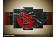 Acryl Schilderij Bonsai | Rood, Zwart | 150x70cm 5Luik Handgeschilderd