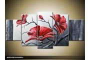 Acryl Schilderij Klaproos | Grijs, Rood | 150x70cm 5Luik Handgeschilderd