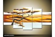 Acryl Schilderij Natuur | Crème, Geel | 150x70cm 5Luik Handgeschilderd